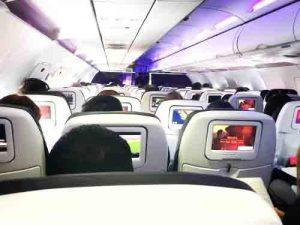 de lucht aan boord van de vlucht
